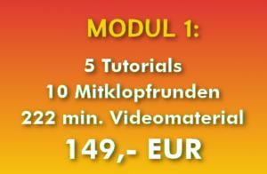 Modul 1 für 149,- EUR (enthält 15 Videos mit 5 Tutorials und 10 Klopfrunden)